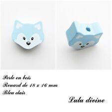 Perle en bois de 18 x 16 mm, Perle plate petite Tête de renard : Bleu clair