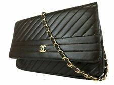 Auth CHANEL CC Logos Chain Shoulder Bag Leather Brown Gold France Vintage