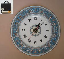 """Wedgwood """"Florentine"""" (Turquoise) 10.75"""" Wall Hanging Plate CLOCK"""