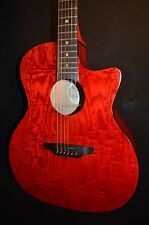 Luna Gypsy QA Red Grand Auditorium Acoustic ELECTRIC Guitar - Free Shipping!