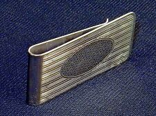 Money Clip ~ Silver-Tone W/Horizontal Lines, Oval Engraving Space #5320310