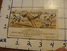 Original Vintage Trade Card: Langsdorf & co. MENS, BOYS & CHILDRENS CLOTHING ny