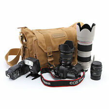 Vintage Canvas Camera Backpack Rucksack Bag Case For DSLR Canon Nikon Olympus
