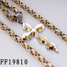 5mm Gold Men Chain Stainless Steel Cross Pendant Necklace Byzantine 24inch GIFT