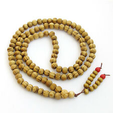 Tibet Buddhist 108 Wood Prayer Beads Mala Necklace