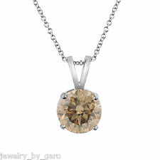 PLATINUM FANCY CHAMPAGNE BROWN DIAMOND SOLITAIRE PENDANT NECKLACE 1.01 CARAT