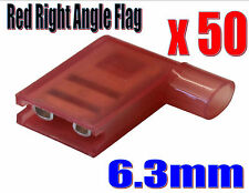 50 x RED INSULATED FLAG RIGHT ANGLE TERMINALS ELECTRICAL CONNECTORS CRIMP