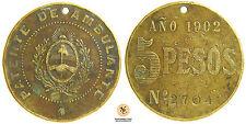MEDAGLIA MEDALLA 1902 PATENTE VENDITA AMBULANTE ARGENTINA  (nc1083)