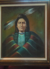 Indian native Painting Original Oil/Canvas Signed J Romans Listed Artist 30 x 32