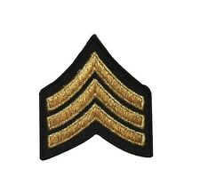 Military Rank Stripes Chevrons Gold Iron On Applique Patch FD