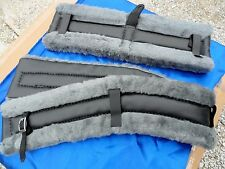 Horse or Mule Fleece Harness Saddle & Breast Collar Pads Set Amish Made GRAY