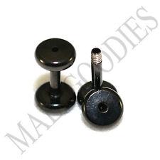 1457 Screw-on / fit Black 14G Gauge 1.6mm Flesh Tunnels Ear Plugs Earlets Steel