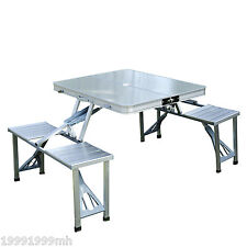 Outsunny Portable Aluminum Picnic Table Junior Folding Outdoor Camping Table