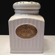 New THL Classic Off White French Shabby Chic TEA CANISTER 6.5""