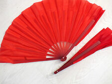 2 CHINESE RED MARTIAL ART TAI CHI KUNG FU DANCE LEFT RIGHT HAND FAN NEW YEAR D9