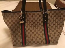 GUCCI Authentic Brown GG Canvas Jolicoeur Charm Web Tote Handbag