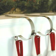 ORIGINAL MANTLE CLIPS 4-PACK Silver Christmas Stocking Hanger Decoration NEW