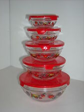 Set of 5 Glass Fruit Designed Serving Storage & Microwave Bowls Red Covers