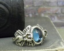 Sterling Silver Blue Cabochon Stone Fairy/ Angel Ring- Size 4.5