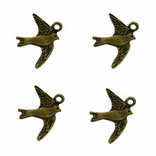20 Antique Bronze Bird Dove Charms Metal Pendants 22mm