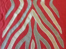 Beacon Hill Red Embroidered Animal Skin Fabric- Kenya Stripe/Clay 1.75 yd 220454