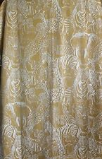Vintage Net Lace Curtain Drapery Panel Safari Lined 52 x 64 Zebra Tiger Elephant