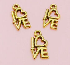 Free Ship 30Pcs Gold Plated LOVE Charms Pendant Fit Bracelet 14x8mm