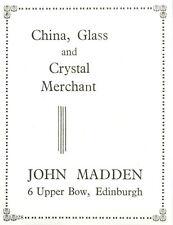 1954 John Madden China Glass Crystal Upper Bow Edinburgh Ad