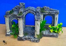 Aquarium Ornament Roman Ruin Columns Plants Ancient Fish Tank Decoration New