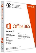 Microsoft Office 365 Personal Vollversion 1 PC/MAC + 1 Tablet