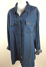 CATO WOMEN PLUS SIZE 22/24 DENIM BLUE STUDS JEANS BLOUSE JACKET TOP SHIRT