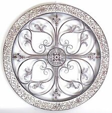 Metal Hanging Wall Art Scroll Round Ornate Provincial Sculpture Garden BIG 82cm