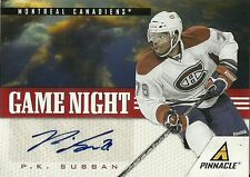 P.K. Subban 11/12 Pinnacle Game Night Signatures Auto /75
