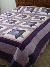 "Hand Quilted Purple ""Twisted Ribbon"" Queen Quilt - 94"" x 87"" - Cotton"