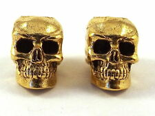 2 Gold Tone Pewter Beads 12mm SKULL-4.5mm Vertical Hole -1865
