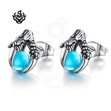 Silver stud sky blue cz ball dragon claw earrings soft gothic vintage style new