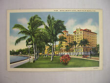 VINTAGE LINEN POSTCARD THE ROYAL WORTH HOTEL IN WEST PALM BEACH FLORIDA UNUSED