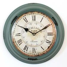 Vintage large French cafe clock round brown shabby chic retro hall  rustic