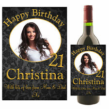 Personalised Wine Champagne Bottle PHOTO Label N6 18th 21st 30th Birthday Gift