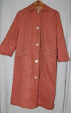 Vintage Quilted House Robe 40s Mother of Pearl Buttons Mauve 2XL XXL Handmade