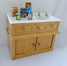 VINTAGE DOLLHOUSE MINIATURE KITCHEN SINK CABINET & GROCERIES