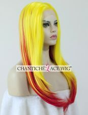 Ombre Synthetic Hair Front Lace Wig Yellow&Red Natural Straight Heat Friendly UK