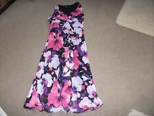 LADIES LONG DRESS SIZE 16-BY BHS-SLEEVELESS-FLORAL-PINKS/BLACK/PURPLE-EXC COND