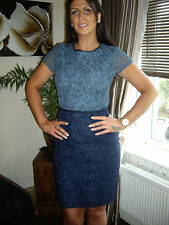 NEXT 14 PETITE  BLUE NAVY JACQUARD LACE  PENCIL COLOUR BLOCK DRESS RRP £75!