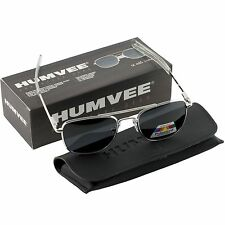 Humvee Military Pilot Silver Frames 52 mm Mens SUNGLASSES Metal Polarized Lens