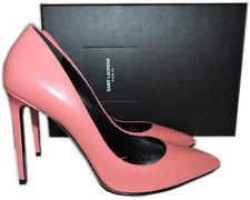 SAINT LAURENT Paris Pump Rose Clair Leather Skinny Pointy Toe Shoe 39