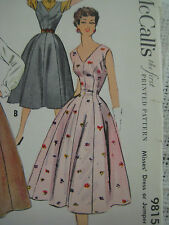 Vintage 50's McCall's 9815 FITTED WAIST FLARED JUMPER DRESS Sewing Pattern Women