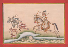 Miniature Painting India Royal King Hunting Forest Warrior Deer Animal Artwork