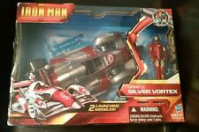"New 2010 Iron Man Mark V Silver Vortex Vehicle 10"" & Figure 4"" W/2 Missiles"
