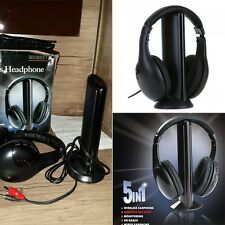 5 in 1 HiFi Wireless Headset FM Radio Monitor MP3 PC TV Audio Mobile Phones FE